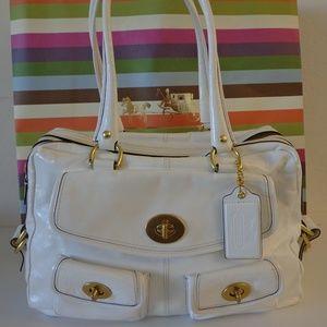 Coach 13051 Peyton Legacy White Patent Handbag